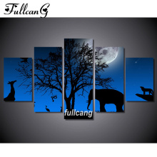 FULLCANG Night Elephant Diy 5pcs Diamond Painting Cross Stitch Embroidery 5D Square Mosaic F1063
