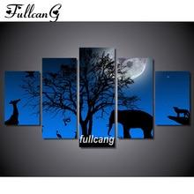 FULLCANG Night Elephant Diy 5pcs Diamond Painting Cross Stitch Embroidery 5D Square Mosaic F1063