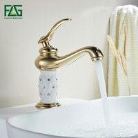 FLG Basin Faucet Gilt Porcelain Golden Bronze Single Handle Taps Bathroom Faucet High Quality Sink Mixer Tap 664 11G