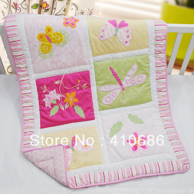 100 Cotton Embroidery Pink Flower Erfly Dragonfly Baby Quilt Nursery Comforter For S Cot Crib