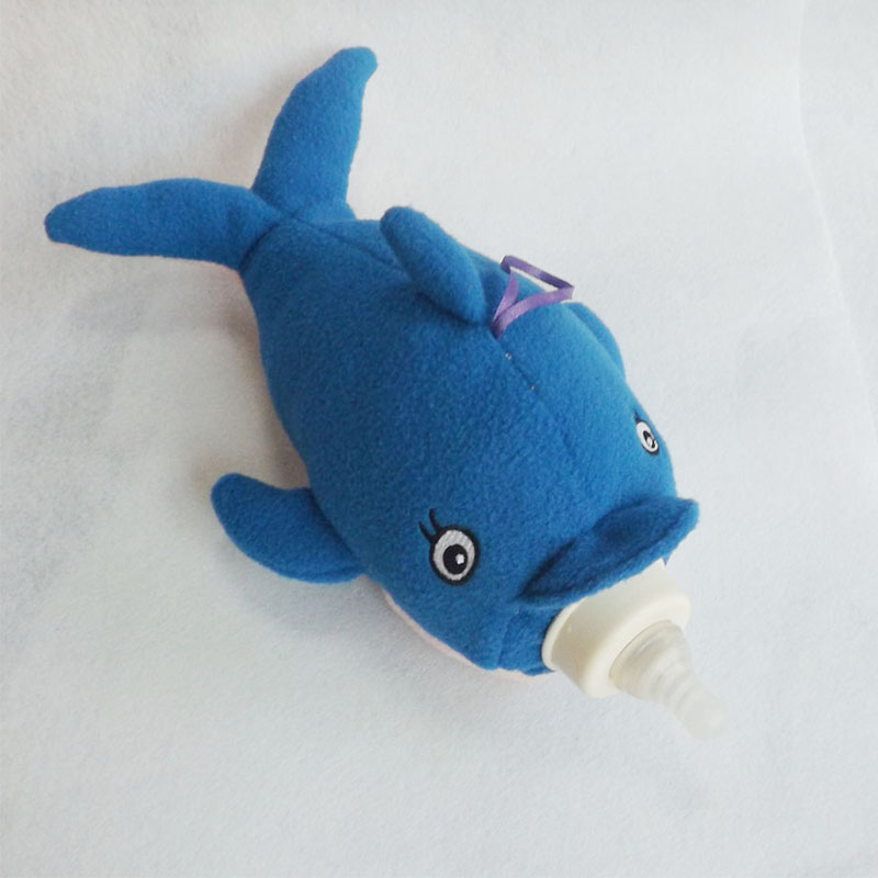 Cute Baby Feeding Bottle Protective Bag Plush Toy for Baby Bottles Holder Dolphin Stuffed Animals Dolphin Plush Toys JHNP3