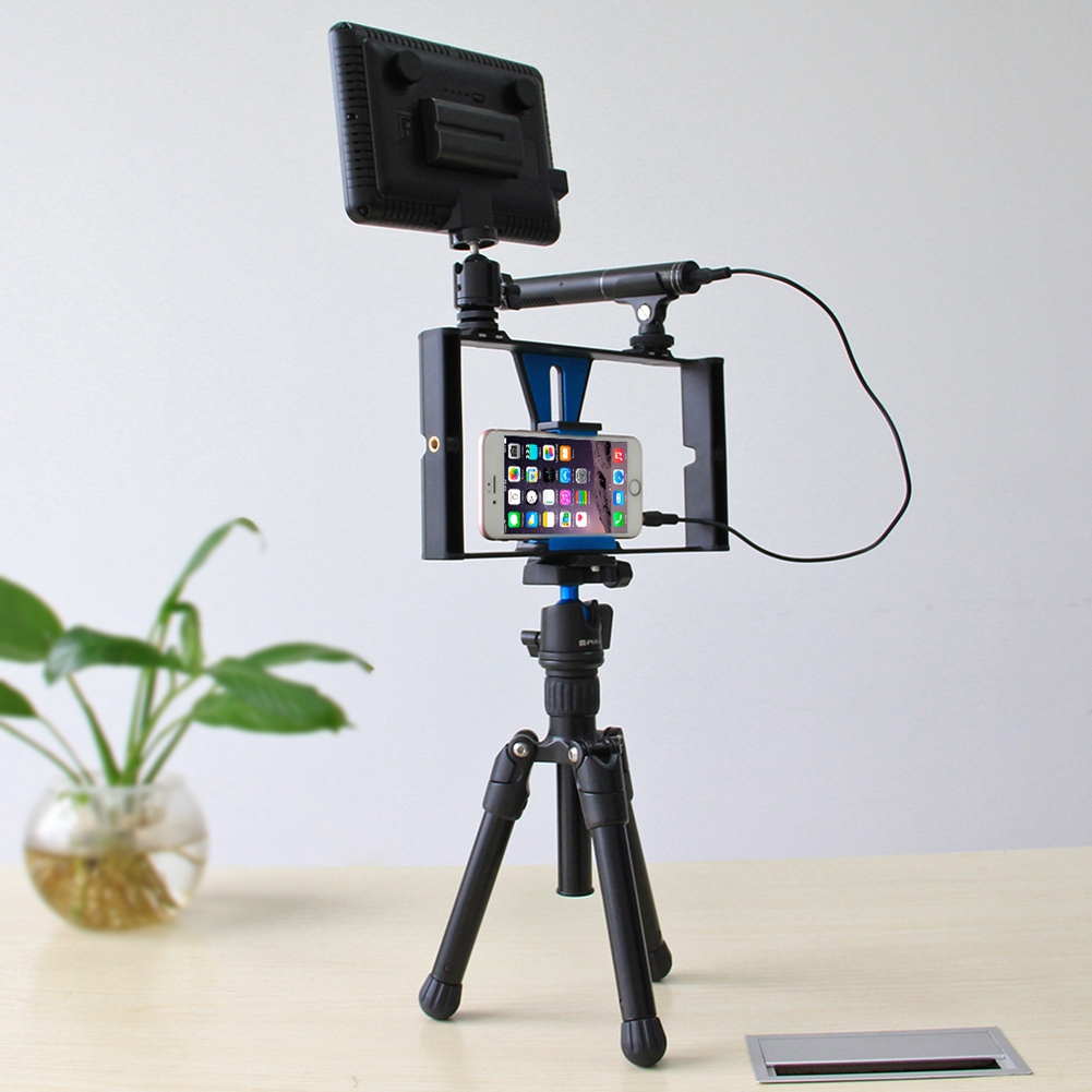 2 3 4 5pcs Set Sale Smartphone Video Rig LED Studio Light Video Microphone Mini Tripod Mount Kits Tripod Head For IPhone