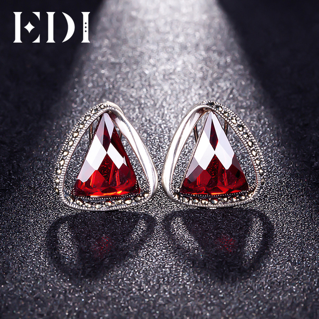 Edi 100 925 Sterling Silver Retro Garnet Triangle Clip Earrings Female Fine Jewelry