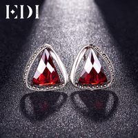 EDI 100% 925 Sterling Silver Retro Garnet Triangle Clip Earrings Female Fine Jewelry