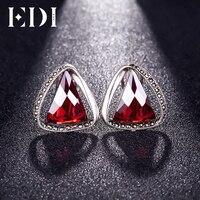 EDI 100% 925 Sterling Silver Retro Garnet Triangle Clip Earrings Female Fine Jewelry