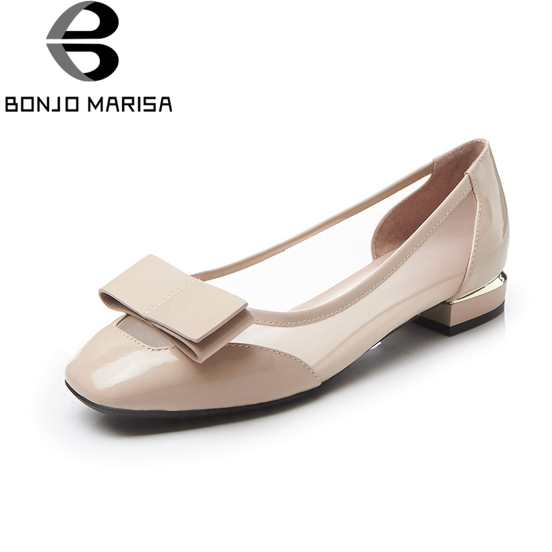 BONJOMARISA Cow Genuine Leather Slip On Women Shoes Butterfly Knot Sweet Flats High Quality Ladies Shoes