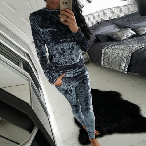 Fashion Velvet Winter Warm Tracksuit Sets Long Sleeve Sportsuit Women 2 Piece Set Slim Pants Suits + Hoodies Set Plus Size GV472