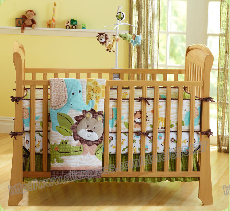 7 Pieces Lovely Baby Bedding Crib Set Forest Lion Printed Boy Cot Sheets Cuna Per Skirt Mattress