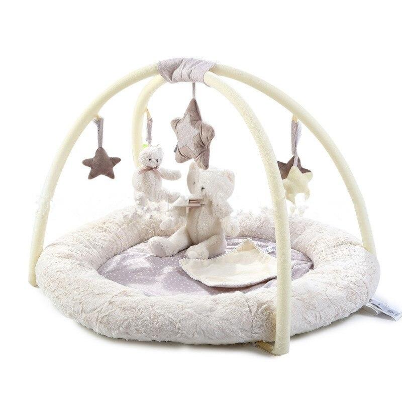 < 3 Years Children Crawling Mat Game Blanket Educational Baby Play Mat Music Bear Fitness Rack Baby Gym Kids Carpet Toddler Toys