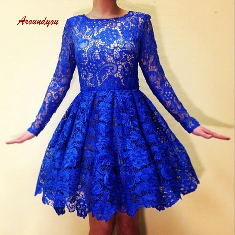 Royal Blue Lace Short Cocktail Dresses Plus Size Long Sleeve Mini Semi Formal Graduation Prom Party Homecoming Dresses