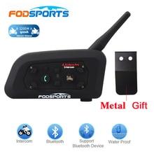 Fodsports 1 шт. V6 Pro 1200 м intercomunicador BT переговорный беспроводной мотоциклетный шлем Bluetooth гарнитура домофон для 6 райдеров