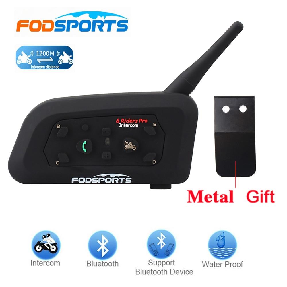 Fodsports 1 sztuk V6 Pro 1200M intercomunicador BT Interphone bezprzewodowy motocykl zestaw słuchawkowy Bluetooth do kasku domofon dla 6 Rider