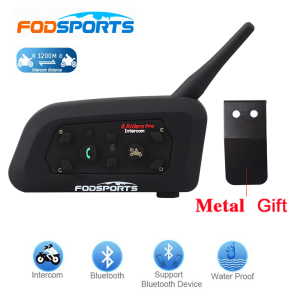 Image 1 - Fodsports 1 pcs V6 Pro 1200M intercomunicador BT Interphone Wireless Motorcycle Helmet Bluetooth Headset Intercom for 6 Rider