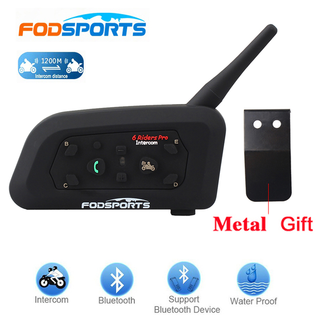 Fodsports 1 pcs V6 Pro 1200M intercomunicador BT Interphone Wireless Motorcycle Helmet Bluetooth Headset Intercom for 6 Rider