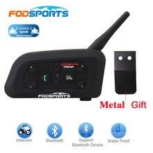 Fodsports oreillette Bluetooth V6 Pro pour moto, appareil de communication BT sans fil pour casque, Interphone portée 1200M, kit mains libres pour 6 motocyclistes, 1 pièce