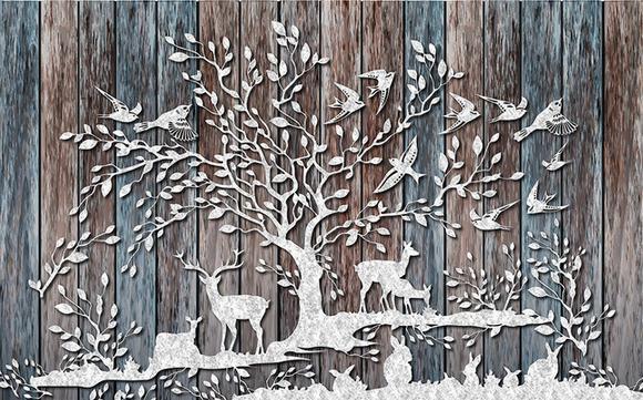 Customize size Forest deer retro wooden wall mural wallpaper mural