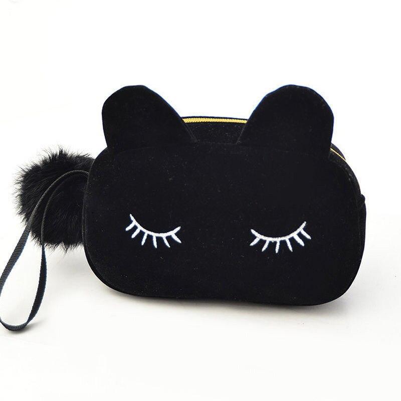 Portable cat cartoon pattern storage bag travel makeup makeup velvet bag cosmetic bag