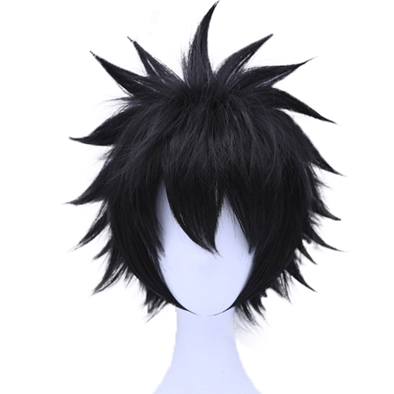 HOT Anime My Hero Academia Dabi Layered Short Straight Black Synthetic Cosplay Wig For Men's Halloween Party Costume