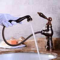 New luxury rose gold brass and jade material faucet bathroom faucets single handle cold hot pull out basin faucet