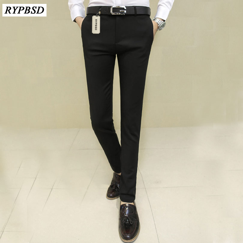 New 2017 Office Work Wear Wedding Men Suit Pants Black Business Casual Slim Fit Stretch Straight Trousers Male Dress Pants 28-37