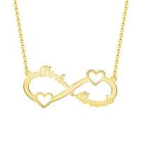 Ожерелье из нержавеющей стали с именем сердца золотого цвета Персонализированная табличка с именем бесконечная Подвеска Ожерелье в стиле ...