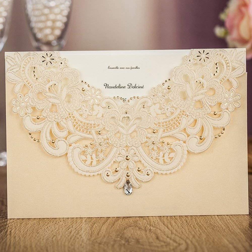 50 pcs Wishmade Champagne Gold Laser Cut Trouwkaarten Kaarten Kant Flora Ontwerp voor Engagement Party Gunsten Aanpasbare-in Kaarten & Uitnodigingen van Huis & Tuin op  Groep 1