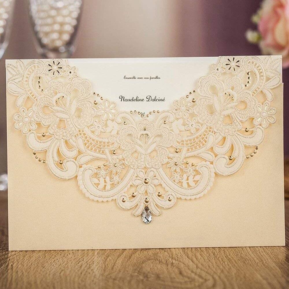 50 piezas con diseño de flores de encaje para fiesta de compromiso personalizable-in Tarjetas e invitaciones from Hogar y Mascotas    1