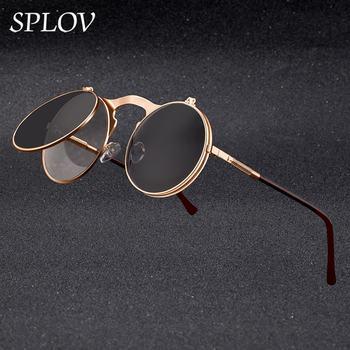 SPLOV Vintage Steampunk Flip Sunglasses Retro gafas de sol con montura de metal para hombres y mujeres Diseñador de la marca Circle Eyewear Oculos