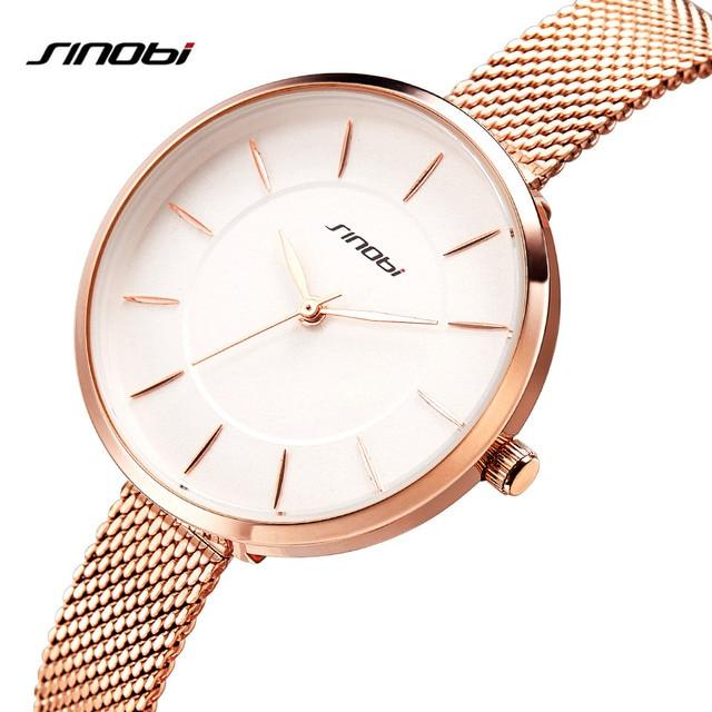 f0ba52e2264 SINOBI 2018 Mulheres Nova Marca de Moda Relógios Relógio de Quartzo  Senhoras Vestido Casual Relógio de