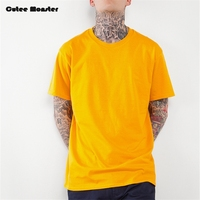 Solid T Shirt Men 2017 Summer Yellow Mens Hip Hop Tshirts Extended Tee Shirt Red Yellow