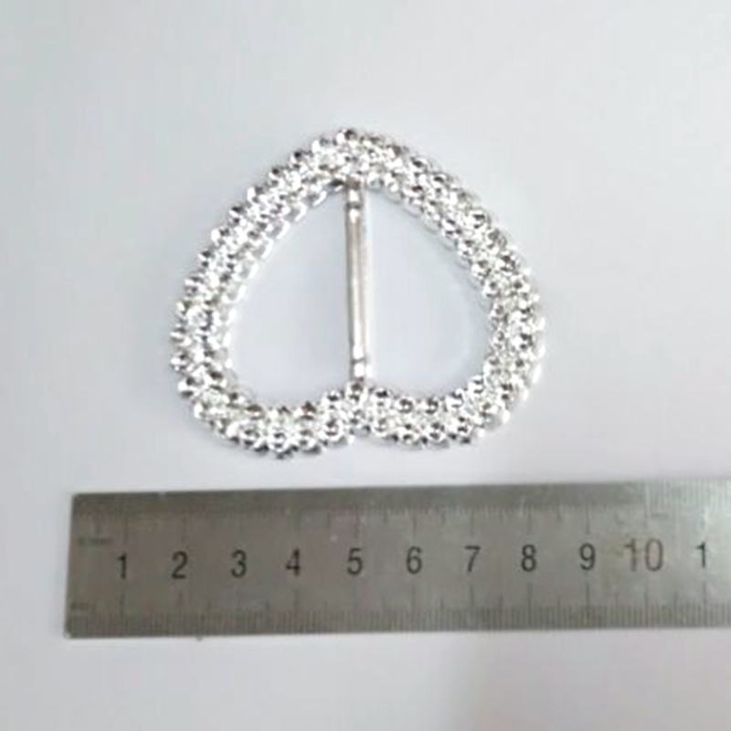 30pcs/lot 66mm*59mm shiny peach heart with the slider for bags belts clothing and shoes decoration 20184221