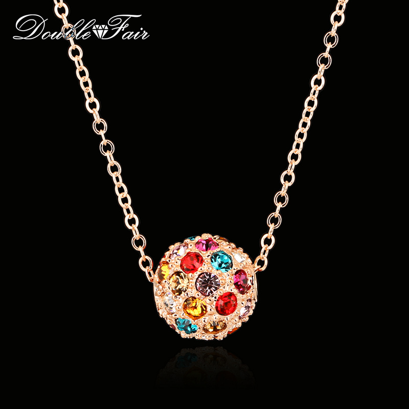 DFN168 Candy Color Ball Cubic Zirconia Rose Gold Pated Necklaces & pendants Jewelry For Women Gifts Crystal colares joias