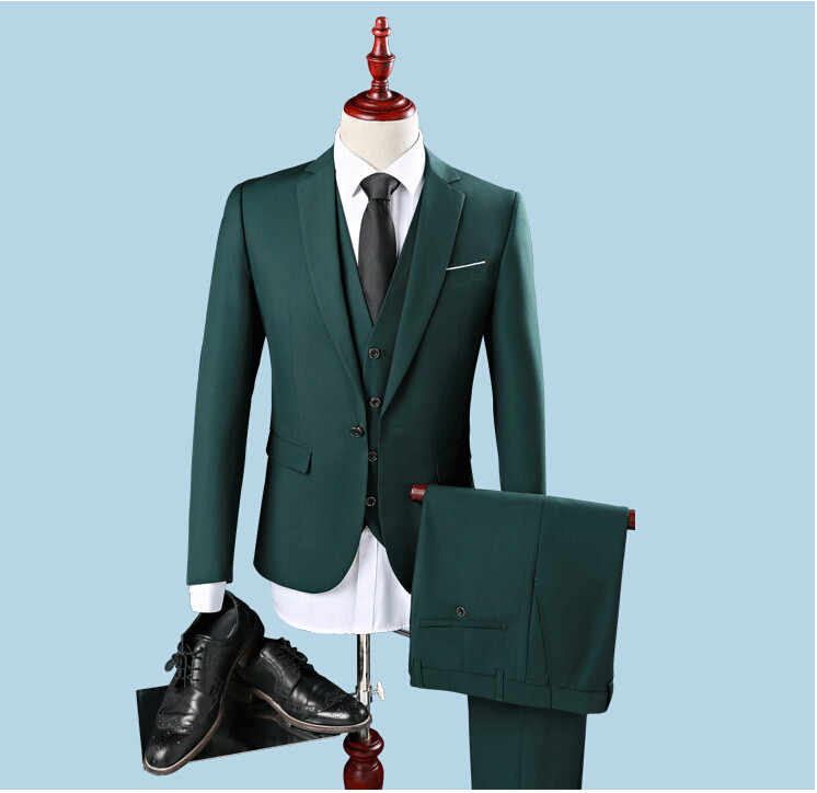 Cheap Slim Fit One Button Groom Tuxedos Groomsman Best Man Party Men Green Suits Mens Business Formal Wear (Jacket+Pants+Vest)