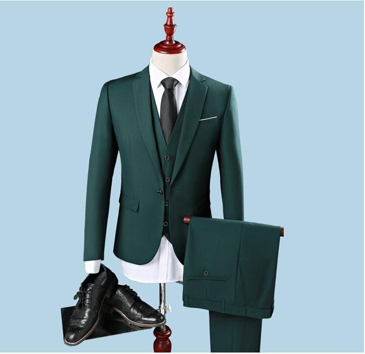 Barato Slim Fit One Button Groom Tuxedos Padrino de boda Best Man - Ropa de hombre