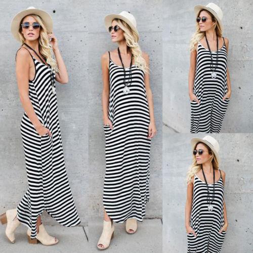 509120a25a Newest Hot Casual Striped Long Dresses Women Boho Halter Long Maxi Dress  Loose Plus Size Beach Holiday Summer Sundress S-XL