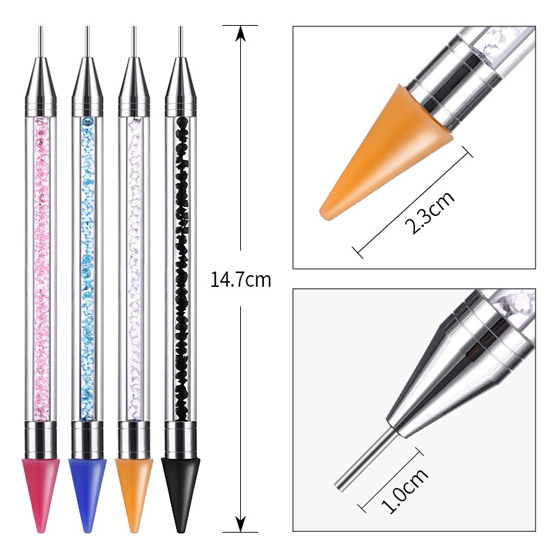 PinPai Crayon Metal Head Nail Acrylic Dotting Pen Rhinestones Crystal Diamond Studs Picker Wax Pencil Acrylic Beads Handle Tool in Dotting Tools from Beauty Health