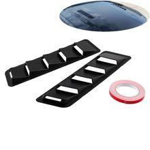 2Pcs/Set Car Front Hood Vent Louver Cooling Panel Trim Set Fit 17x5 Inch Universal Matte Black ABS