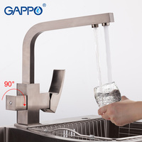 GAPPO Solid Brass Kitchen Faucet Nickle Brushed Letter Seven Design Water Purification Fuction Cold And Hot