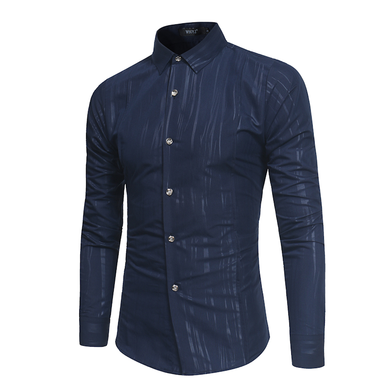 Mens Darkstripe Print Long Sleeve Casual Shirt   2018 Brand New Spring Male Vintage Slim Fit Social Shirt Men Dress Shirt