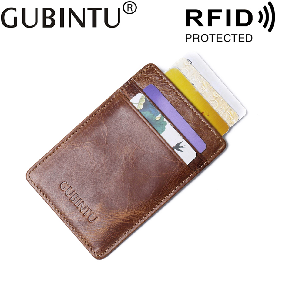 Slim RFID Business Card Holder For Men Wallet Male Purse Cuzdan Genuine Leather Small Walet Thin Perse Mini Vallet Crazy Horse