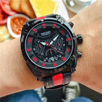 MEGIR Quartz Watches Men Luxury Brand Stopwatch Luminous Hands Genuine Leather Strap 30M Waterproof Clock Man Fashion Watch 2018