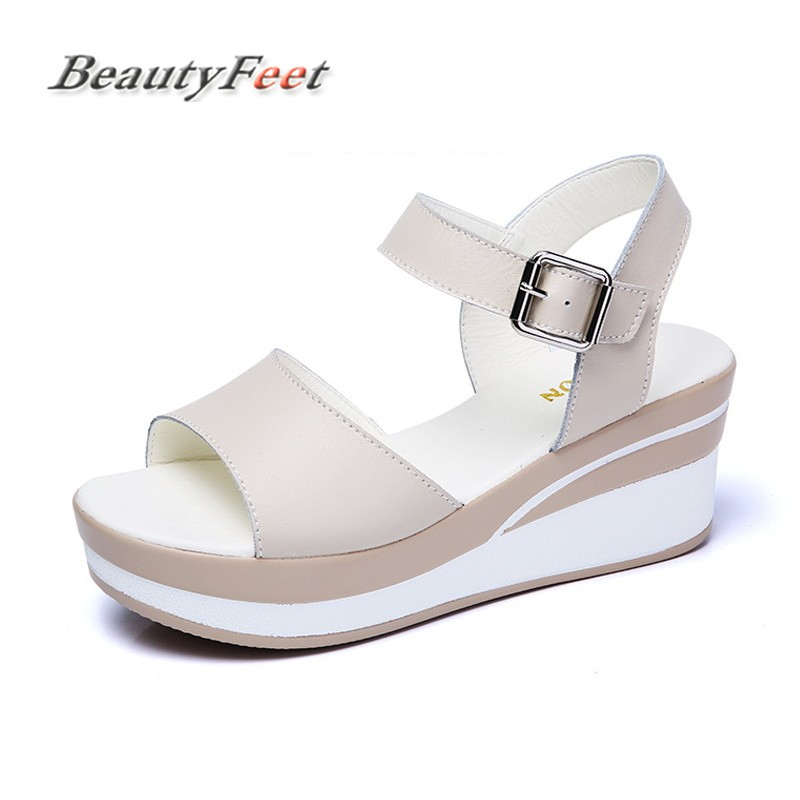 цена на BeautyFeet Women Sandals Split Leather Flat Sandals Low Wedges Summer Shoes Female Open Toe Platform Sandals Women Casual Shoes