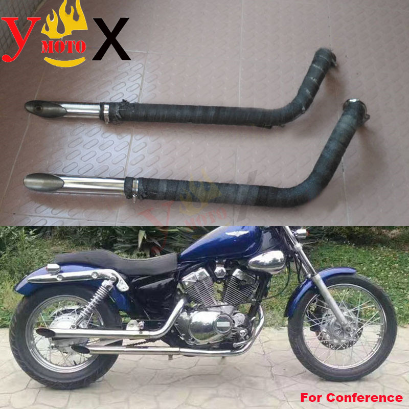 Cruiser Motorcycle Modified Exhaust Pipes Muffler Silencers System W Heat Thermal Wrap For Yamaha Virago XV250