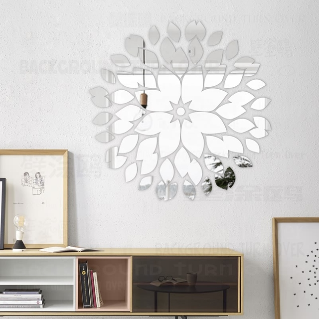 Creative round flower petals 3d acrylic decorative mirror for Espejo decorativo pared