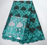 2019 Latest Beatiful Latest African Lace Fabric Turquoise French Net Lace Fabric High Quality Africa Tulle Fabric With Stones