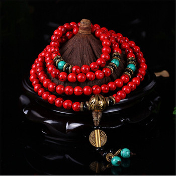 New Style Buddhist 108 Mala Prayer Bracelets 8MM Red Pine Stone Beads National Wind Women Men Yoga Meditation Necklace Wholesale