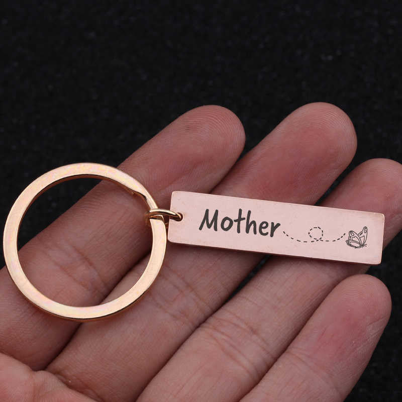Stick Hình Bướm Cho Món Quà của Mẹ Khắc Mẹ Thép Không Gỉ Keychain Phụ Nữ Độc Quyền Quyến Rũ Vòng Chìa Khóa Chủ Tag