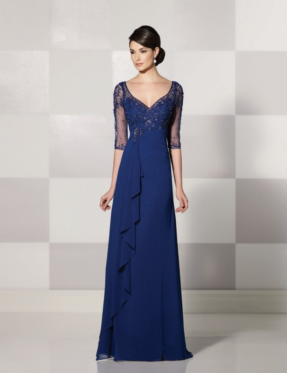 2017 Chiffon Navy Blue Mother Of The Bride Dresses V Neck
