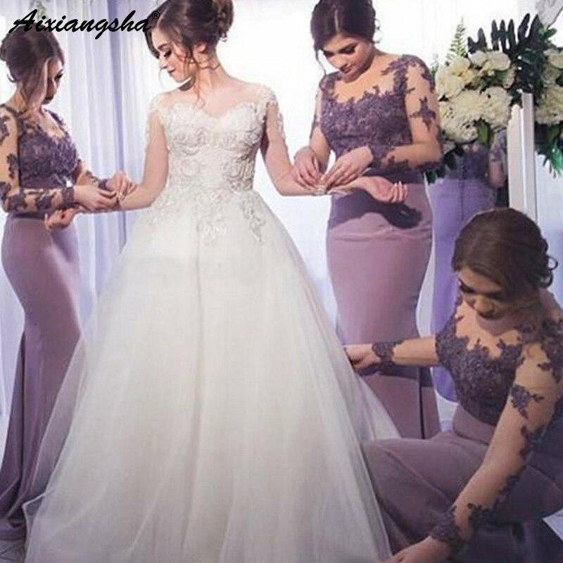 6010d1376 Encantador y Sexy sirena ilusión Apliques de encaje barato vestido de festa  longo largo manga púrpura vestidos de dama de honor ~ Super Deal May 2019