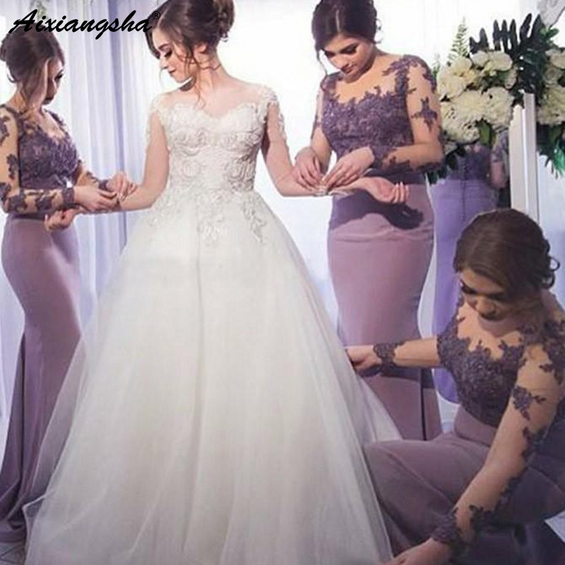 Charming Sexy Mermaid Illusion Appliques Lace Inexpensive vestido de festa longo Long Sleeve Purple   Bridesmaid     Dresses